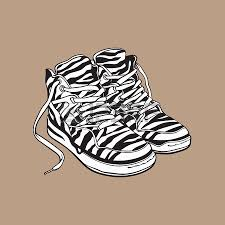 pair of zebra patterned sneakers sport shoes from 90s sketch