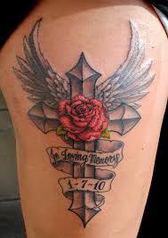 gothic cross red roses vines tattoo design