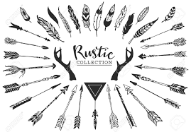 rustic decorative antlers arrows and feathers hand drawn vintage