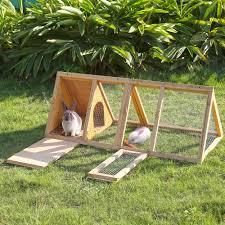 ikayaa multi use outdoor triangle wooden rabbit hutch guinea sales