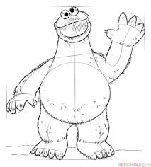 draw cookie monster step step drawing tutorials
