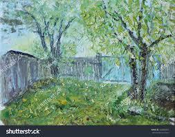 original oil painting old rural yard stock illustration 332986442