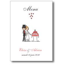 mariage humoristique menu pour mariage les amoureux avec illustration humoristique