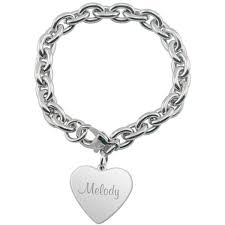 engraved charms heart charm bracelet