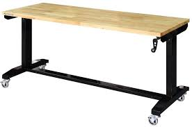 husky adjustable work table adjustable height work table rolling workstation with manual crank
