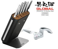 new global hiro black 7pc knife block set u0026 bonus sharpener knife