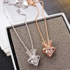 short necklace with pendant images New rose gold short chain zircon crown diamond pendant necklace jpg
