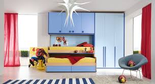 outstanding childrens room design with brightly blue wooden wall