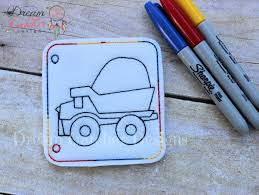 ith dump truck felt coloring page embroidery design dreamcatcher