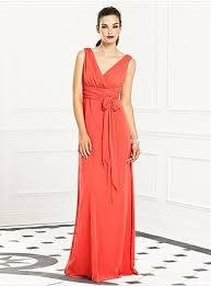 sheath straps v neck long coral chiffon bridesmaid dress with sash