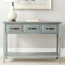 robinwood 3 drawer console table beachcrest home crystal river console table finish barn blue