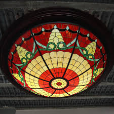 Stained Glass Ceiling Light Large Stained Glass Ceiling Light 1980s For Sale At Pamono