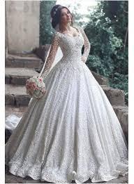beautiful long sleeve lace 2017 wedding dress ball gown floor