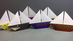 free origami sailboat paper print your own pirate and shark