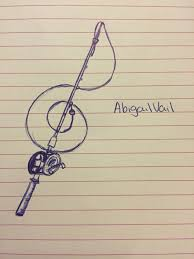 design i thought up fishing pole treble clef hair and