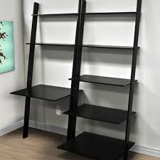 leaning desk with shelves