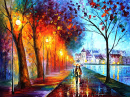 city by the lake u2014 palette knife oil painting on canvas by leonid