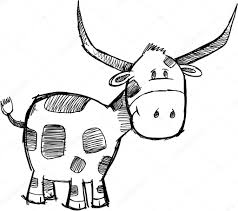 goofy sketch bull cattle animal vector u2014 stock vector