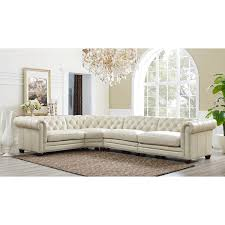 Leather Button Sofa Hydeline By Amax Nicholson Top Grain Leather Button Tufted