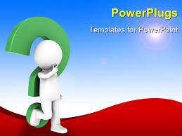 powerpoint template a 3d character leaning on a question mark