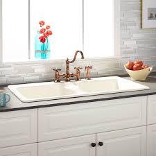cast iron drop in sink 43 selkirk bisque double bowl cast iron drop in kitchen sink 8