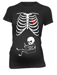 Cute Halloween Maternity Shirts Pregnancy T Shirt Skeleton Baby Funny Maternity Tee Shirt