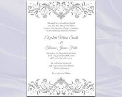 silver wedding invitations silver invite etsy