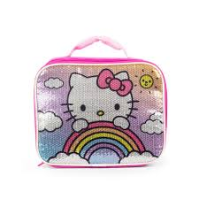 hello kitty front sequin insulated lunch box toys