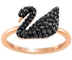swarovski rings black images Iconic swan ring black rose gold plating jewelry swarovski jpg