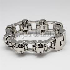 steel chain bracelet images Wholesale fashionable retro 316 stainless steel skull bicycle JPG