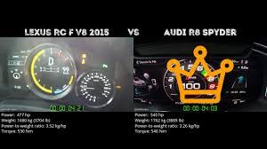 lexus lfa vs audi r8 drag race lexus rc f v8 2015 vs audi r8 spyder 0 100 km h youtube