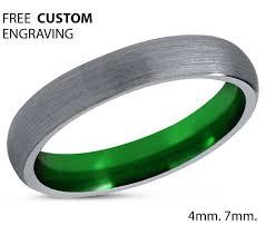 green tungsten ring mens silver grey wedding band green tungsten ring mens silver grey wedding band carbide man male women anniversary matching