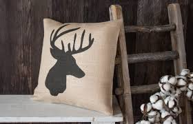 whitetail buck burlap throw pillow deer hunter gift for the