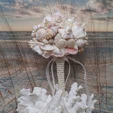 seashell bouquet pink chagne seashell wedding bouquet wedding seaside