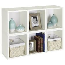 simple white painted pine wood small bookshelf with white webbing