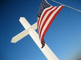 cross and flag just and sinner