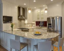 Granite Kitchen Design Bright Kitchen Design Features L Shaped Countertop Wrapping The