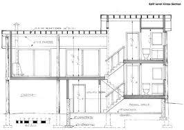 split level stairs cross section house plan modern superb charvoo