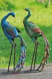 pair blue green peacock garden ornament co uk garden