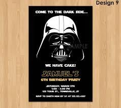 darth vader invitation star wars birthday invitation star