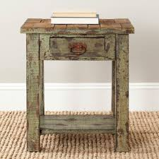 distressed wood end table wonderful distressed antique green square end table with regard to