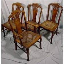 Victorian Dining Chairs Set Of 4 Quartered Oak Victorian Dining Chairs W Cane Seats Ca 1890