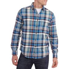 faded glory men u0027s long sleeve flannel shirt walmart com