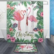 Flamingo Shower Curtains Christmas Flamingo Shower Curtain Christmas Mosaic