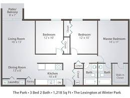 Three Bedroom Ground Floor Plan Apartment Floor Plans U0026 Pricing U2013 The Lexington At Winter Park In