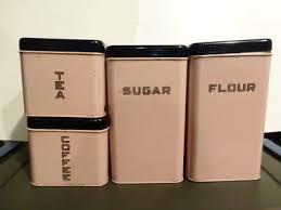 vintage retro pink u0026 black square metal kitchen canister set of 3