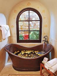 soaking tub for small bathroom with classic copper small oval