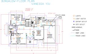 autocad bungalow floor plan vanessas portfolio ftech design