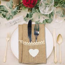 burlap lace tableware pouch packaging fork u0026 knife vintage jute