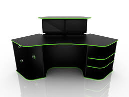 Office Computer Desks Corner Computer Desk For Gaming Black Color With Green Strip